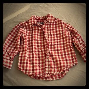 Children's place red checkered button down